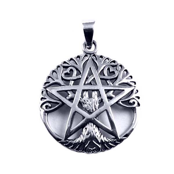 Tree of Life Pentagram hanger - Sterling Zilver
