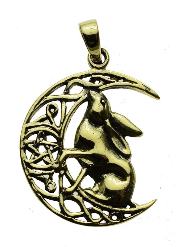 Moon Gazing Hare - Bronzen hanger - Lisa Parker
