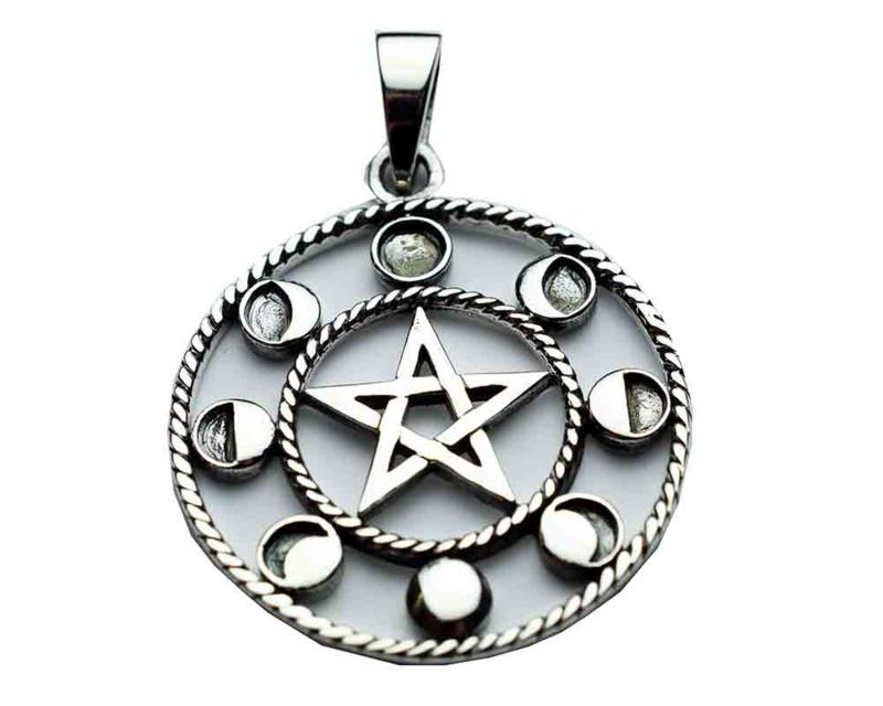 Pentagram Circle hanger - Sterling Zilver