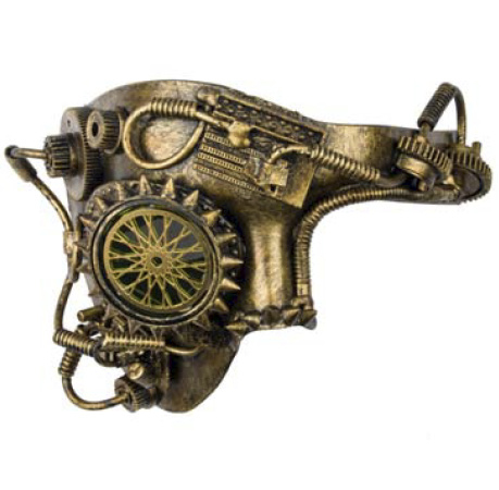 Steampunk masker - Golden Wheel