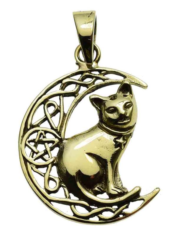 Cat On Moon - Bronzen hanger - Lisa Parker