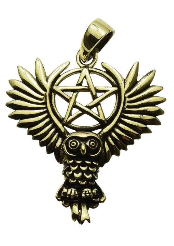 Owl Pentagram - Bronzen hanger - Lisa Parker