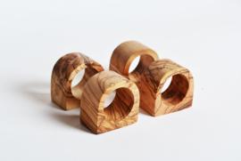 Olive Wood Napkin Ring Set of 4
