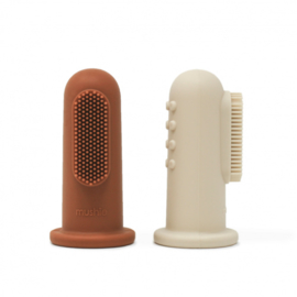 Mushie siliconen vingertandenborstel set 2 stuks |  toothbrush sand+clay