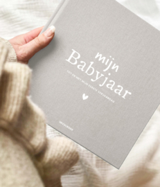 Mijn babyjaar invulboek linnen-zand