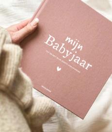 Mijn babyjaar invulboek linnen- rood/roze