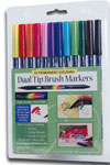 Dual tip brush marker