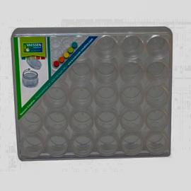 Hardbox met 30 ronde schroef potjes.
