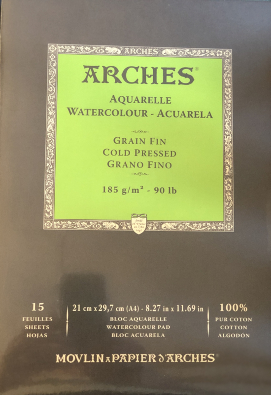 Aquarelblok A4 Arches 185grams