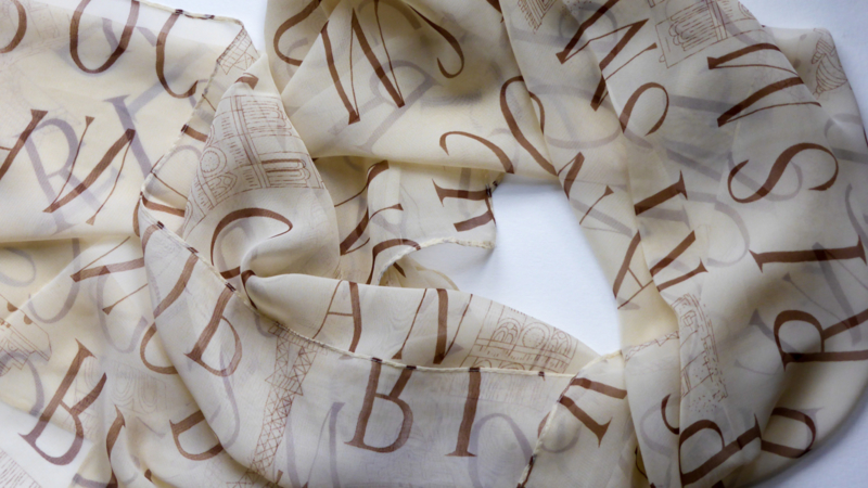 Scarf with letters.