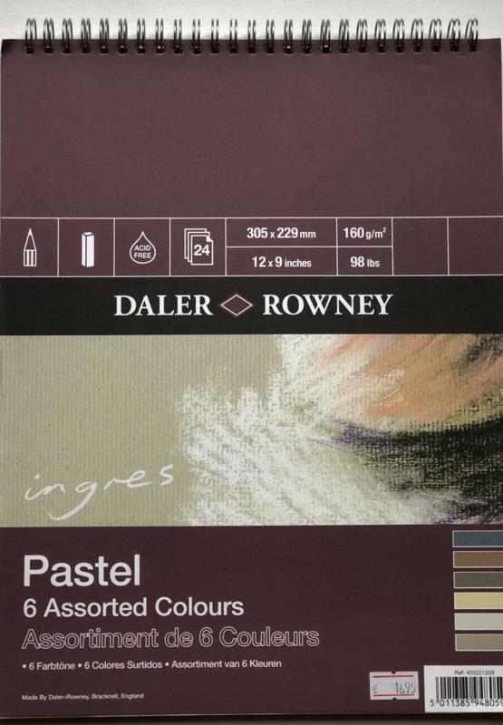 Ingres, 6 pastel kleuren.
