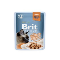 Brit  Cat Pouch met Kalkoen stukjes in gravy 85gr