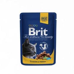 Brit Premium Cat Pouches with Chicken & Turkey 100gr