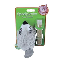 Boon kattenspeelgoed pluche das met catnip, vulbaar 18 cm.
