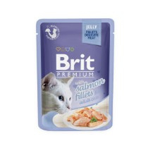 Brit Cat Pouch met Zalm stukjes in Jelly 85gr