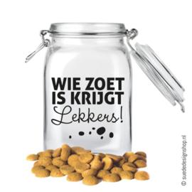 Sticker   Wie zoet is krijgt lekkers (DIY)