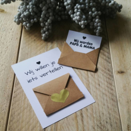 Envelopkaart ''wij willen je iets vertellen'' - Wij worden papa en mama