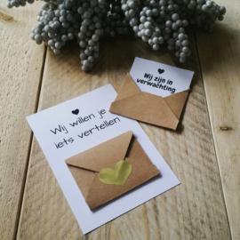 Envelopkaart ''Wij willen je iets vertellen'' - Wij zijn in verwachting
