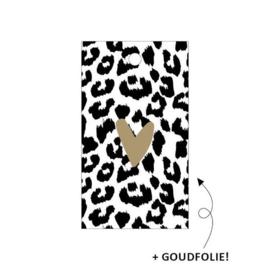 Label - cheetah met goud hartje