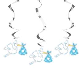Hangdecoratie ooievaar - blauw