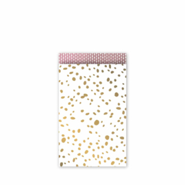 Cadeauzakje - golden dots - goud/wit/rose
