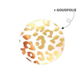 Sticker - Cheetah - wit met goudfolie