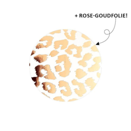 Sticker - Cheetah - wit met rosegoudfolie