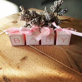 Blokkendoosje baby - roze