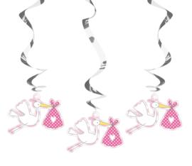 Hangdecoratie ooievaar - roze