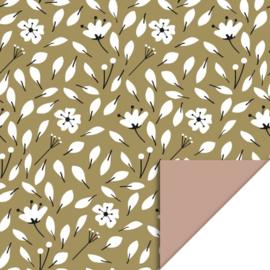 Cadeauzakje - Flowers Liberty - Olive Green / Pink