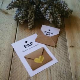 Envelopkaart ''Wij willen je iets vertellen'' - pap