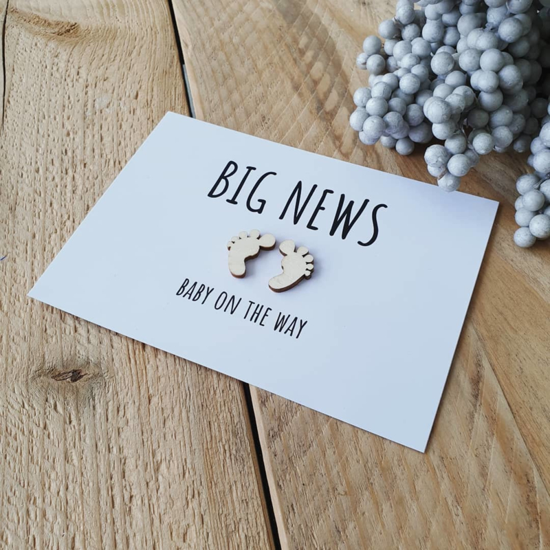 Kaart hout - Big news - baby on the way