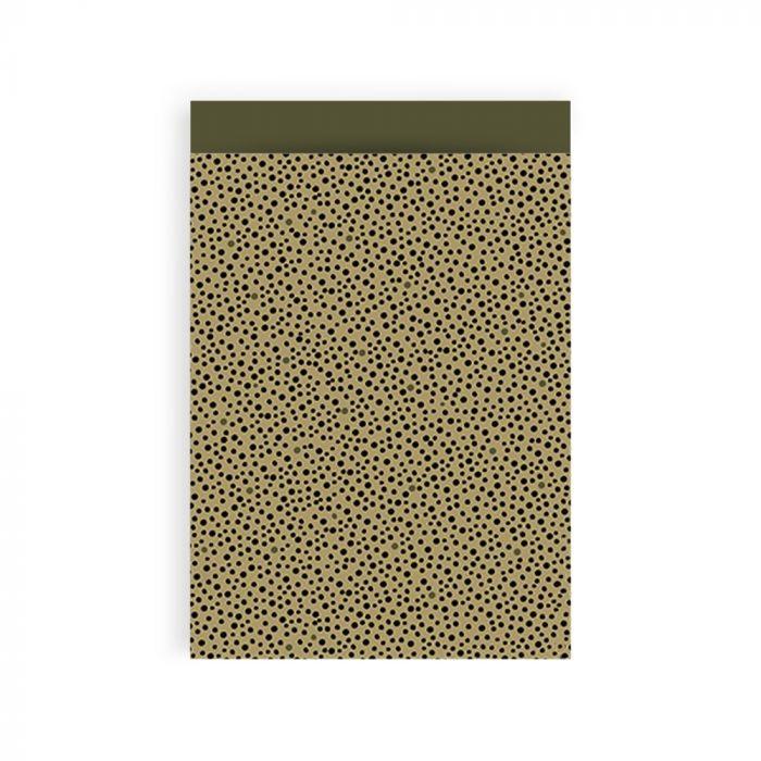 Cadeauzakje - Black Dots - Olive Green