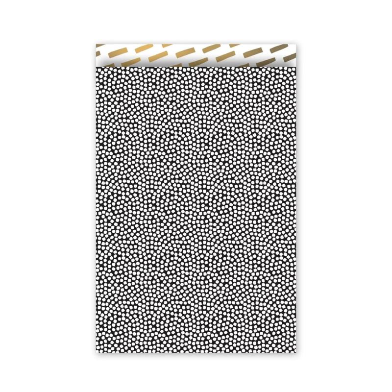 Cadeauzakje - dots - zwart/wit/goud