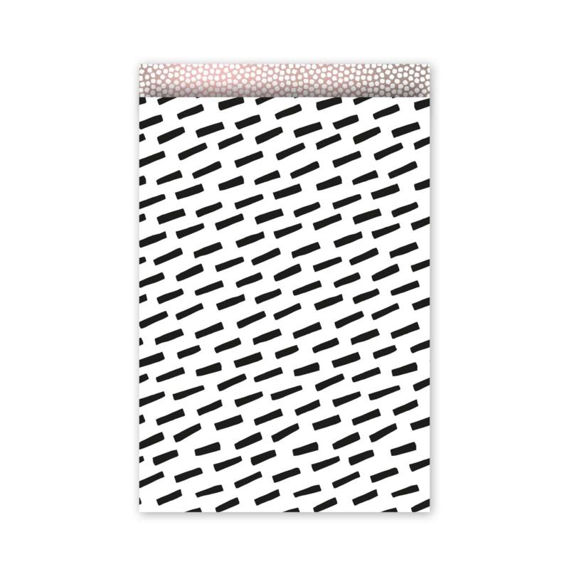Cadeauzakje - zwarte streepjes - wit/zwart/oudroze