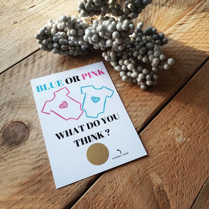 Kraskaart ''Blue or Pink'' - jongen