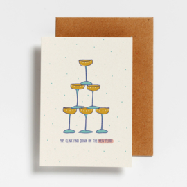 POSTCARD - POP, CLINK AND DRINK ON THE NY