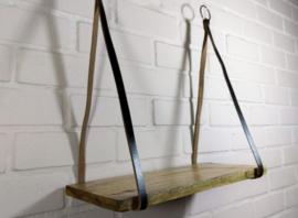 Houten plank met leer