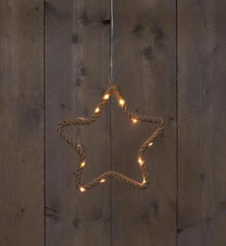 Jute touw ster met LED (3 verschillende afmetingen).