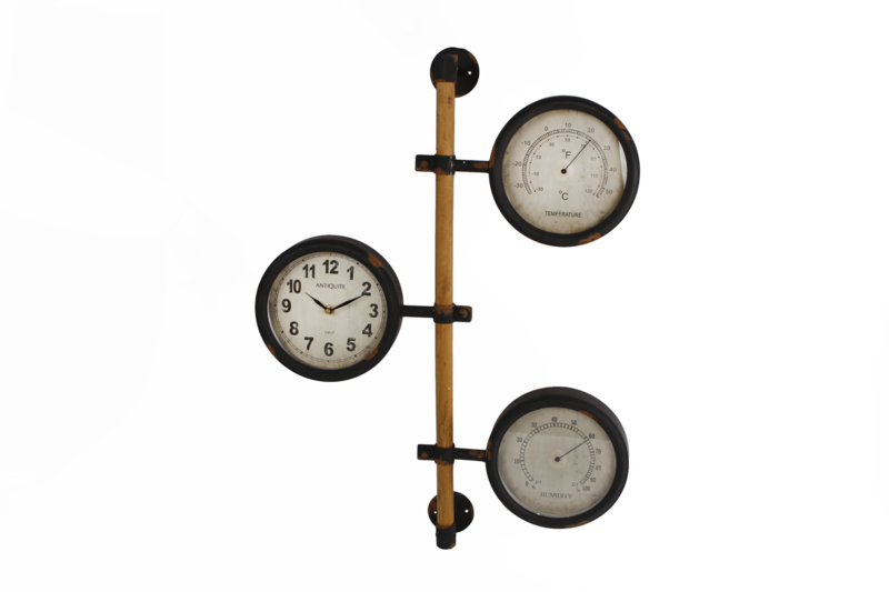 Klok met  thermometer+vochtigheidsmeter