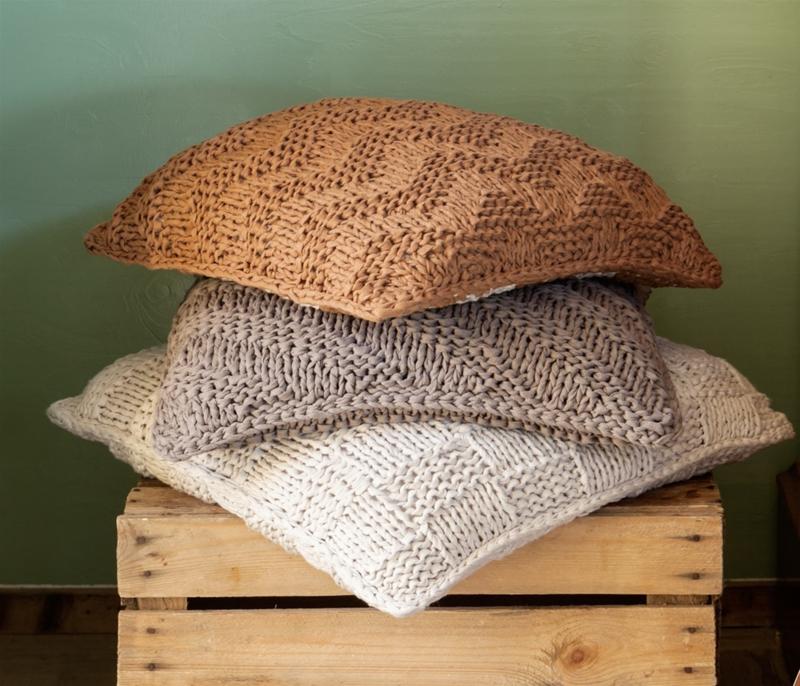 DIY Breipakket Kussen Bulky Textures Earth Taupe