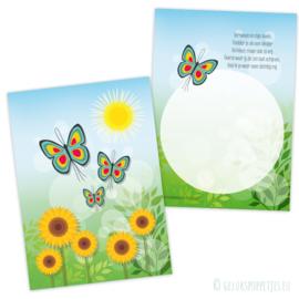 Vlinderkaartje met tekst per 25 stuks