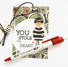 """""""You stole my heart"""" gelukspoppetjes pen per 10 stuks"""