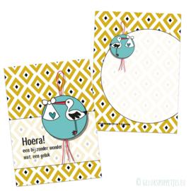 Hoera, geboorte gelukspoppetjes kaartje per 25 stuks