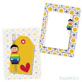 Regenboog gelukspoppetje kaartje per 25 stuks