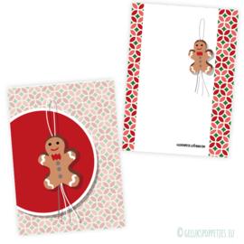 Gingerbread gelukspoppetjes kaartje per 25 stuks