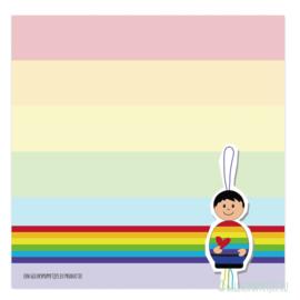 Regenboog gelukspoppetje notitieblokje per 10 stuks