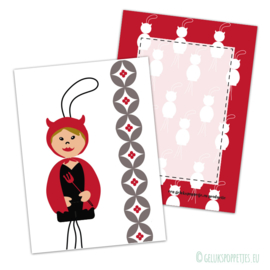 Gelukspoppetje duiveltje kaartje per 25 stuks