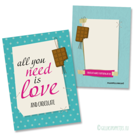 All you need is love and chocolate gelukskaartje per 25 stuks