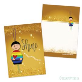SHINE regenboog gelukspoppetje kaartje per 25 stuks